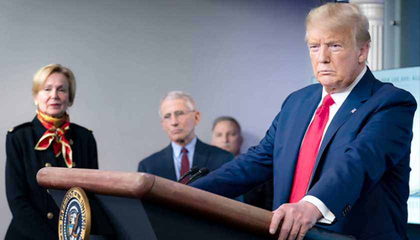 President Trump with Drs. Fauci and Birx