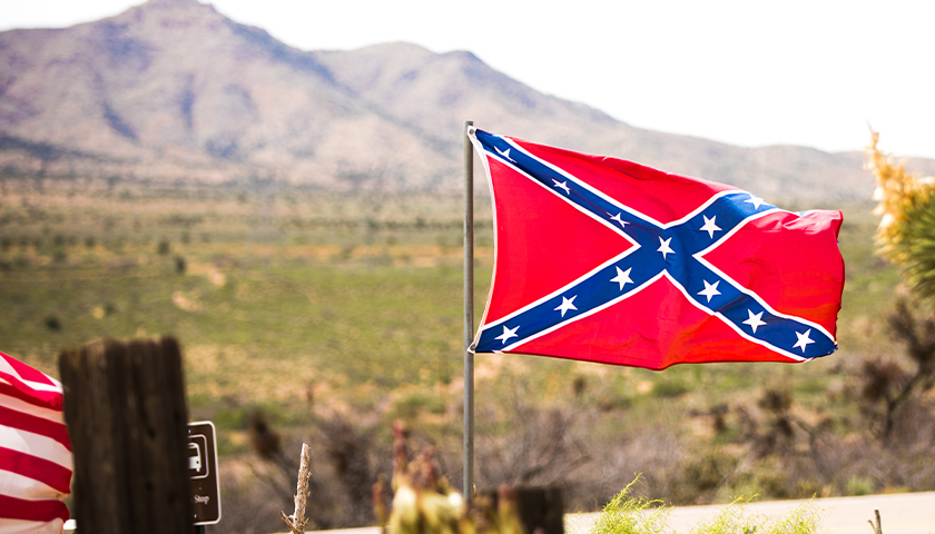 Confederate flag blowing in wind
