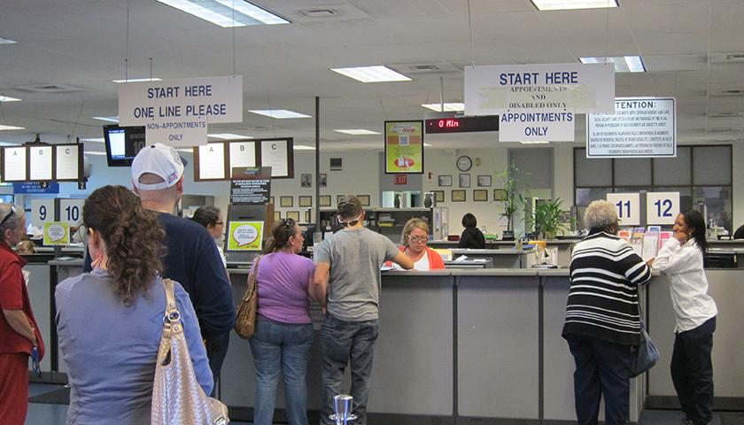 Inside DMV, people standing in line