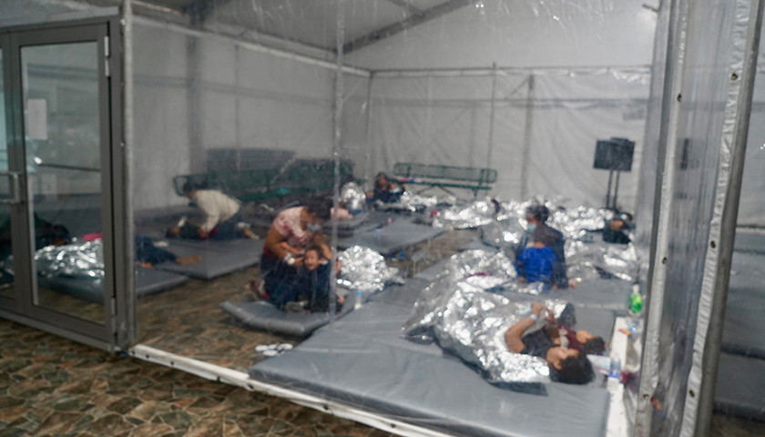 Temporary soft sided facilities are utilized to process noncitizen individuals, noncitizen families and noncitizen unaccompanied children as part of the ongoing response to the current border security and humanitarian effort along the Southwest Border in Donna, Texas, May 4, 2021.