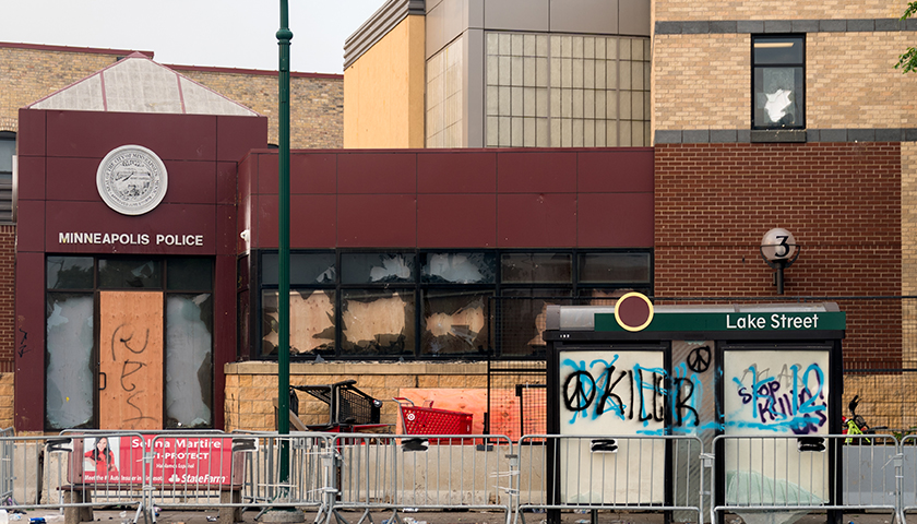 The 3rd Police Precinct building on Thursday morning after a night of protests in the area in Minneapolis, Minnesota