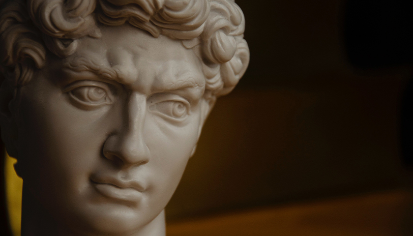 Greek statue of man's face