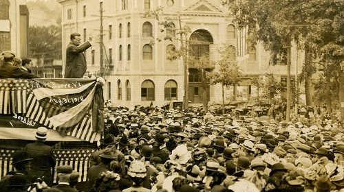 """former President Teddy Roosevelt exhorts the crowd during his unsuccessful run for another term: the """"Bull Moose"""" Campaign -- Barre, Vermont, August 31, 1912."""