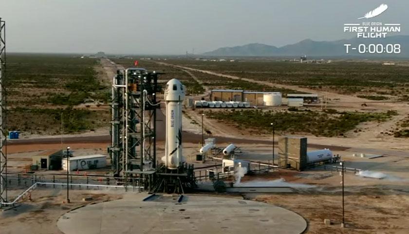 Screen cap of live video of Blue Origin lift off